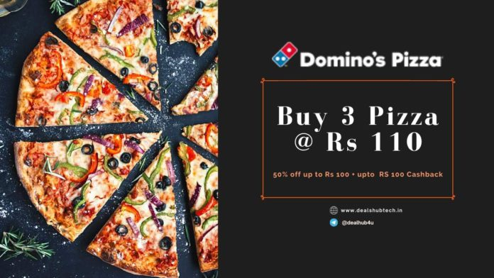 Dominos Howzzat offer buy 3 pizza at ra 110